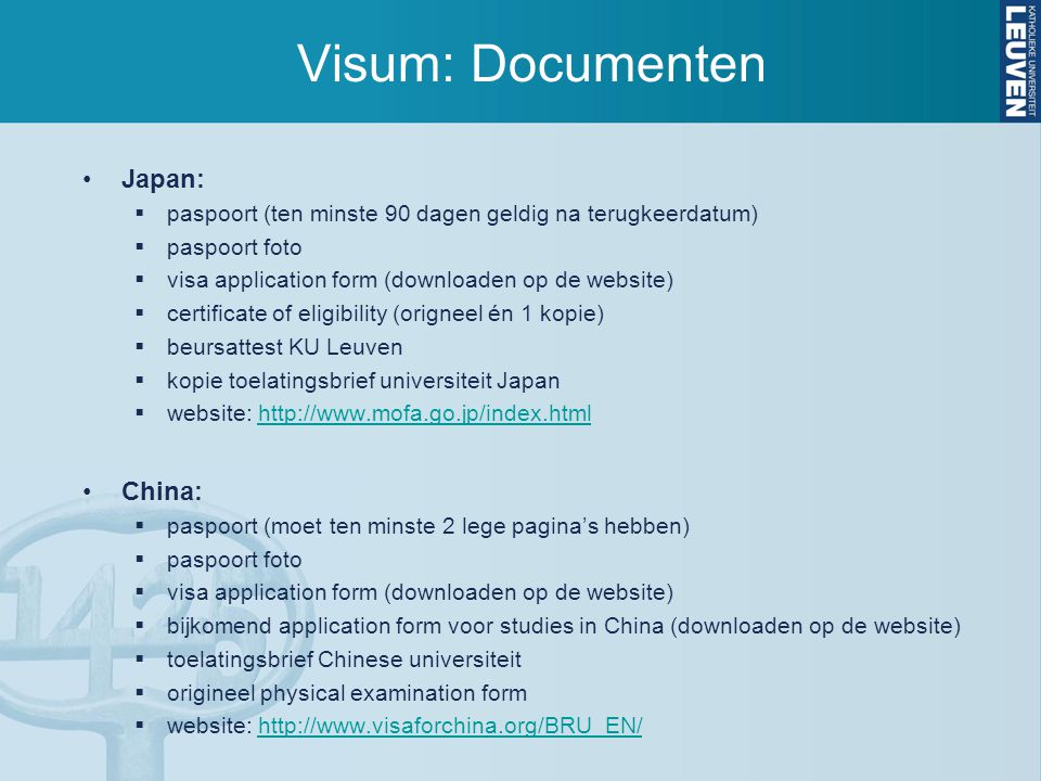Visum: Documenten Japan: China: