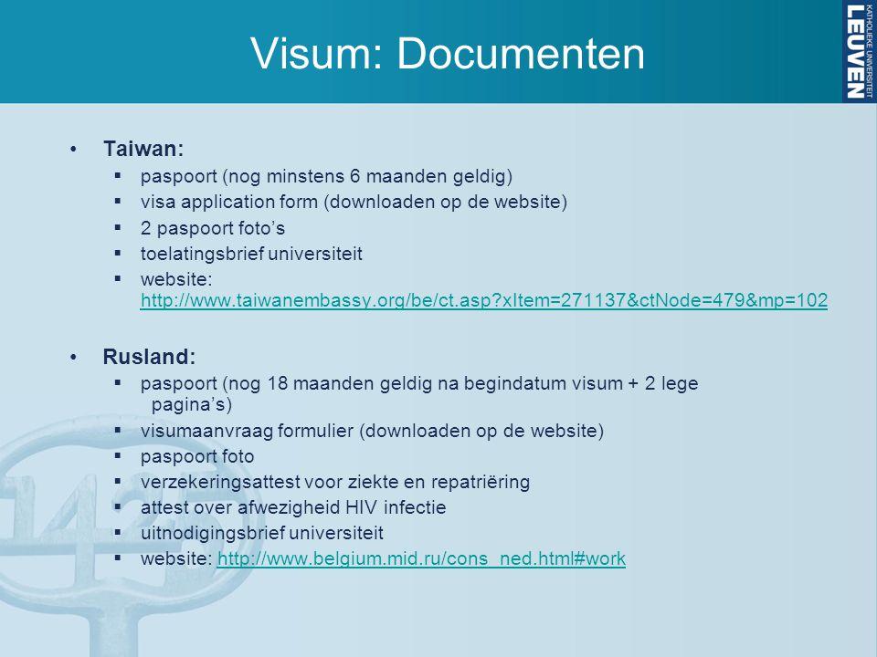 Visum: Documenten Taiwan: Rusland:
