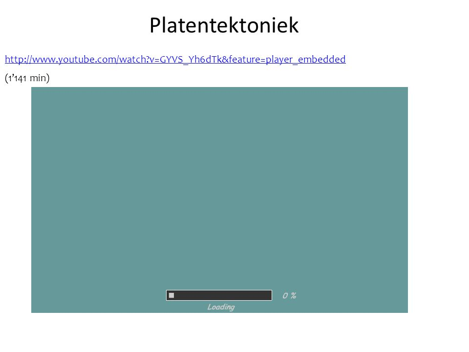 Platentektoniek http://www.youtube.com/watch v=GYVS_Yh6dTk&feature=player_embedded. (1'141 min)