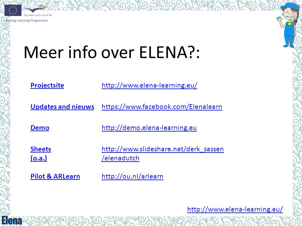 Meer info over ELENA : Projectsite