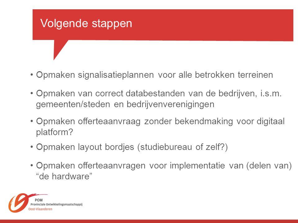 Volgende stappen Opmaken signalisatieplannen voor alle betrokken terreinen.