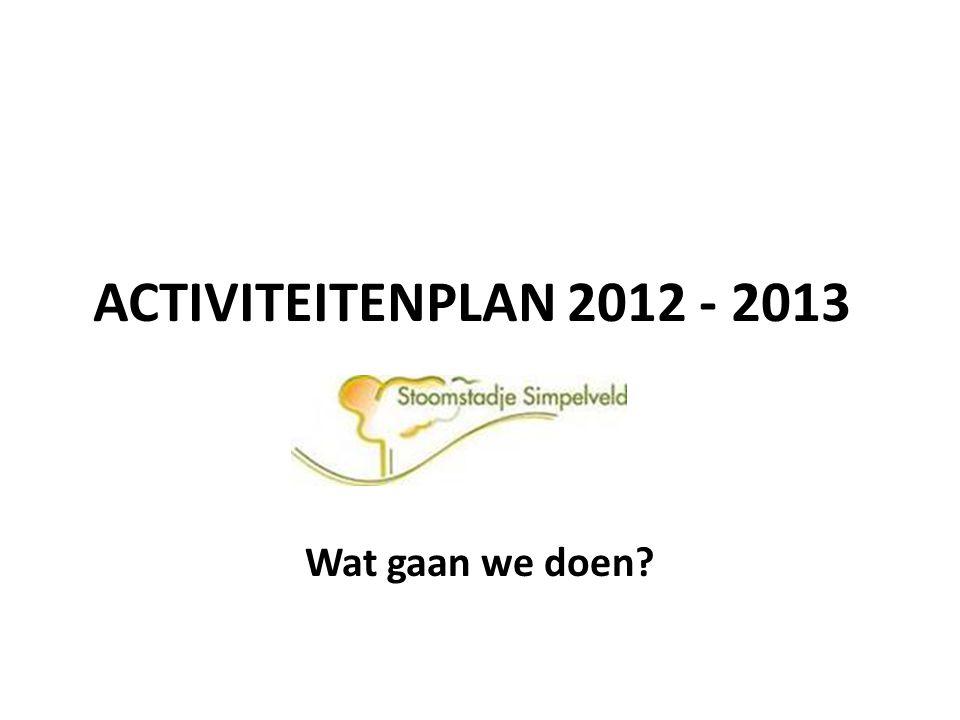 ACTIVITEITENPLAN 2012 - 2013 Wat gaan we doen