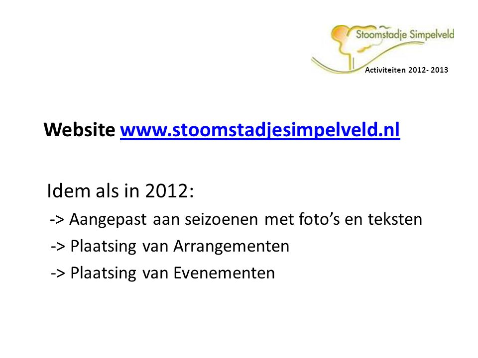Website   Idem als in 2012: