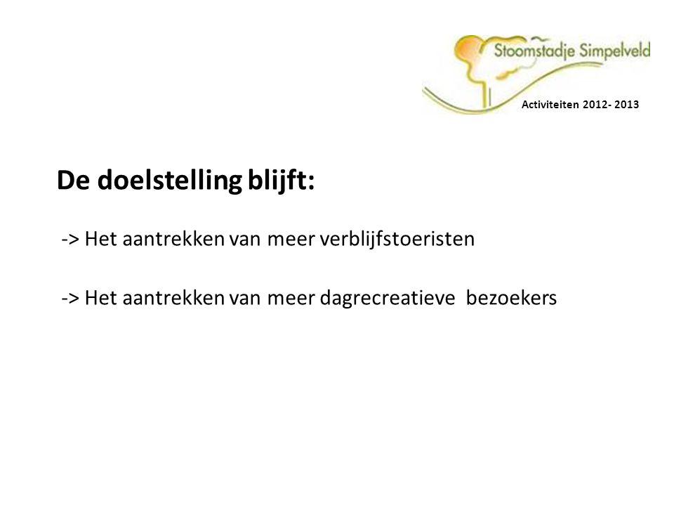 Activiteiten 2012- 2013 De doelstelling blijft: -> Het aantrekken van meer verblijfstoeristen.