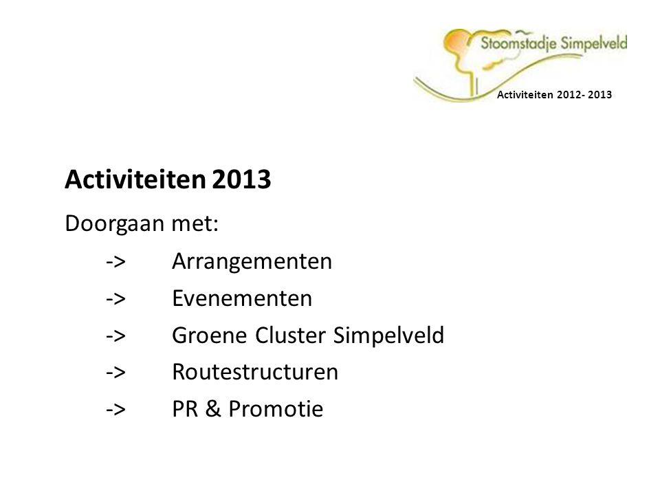 Activiteiten 2013 Doorgaan met: -> Arrangementen -> Evenementen