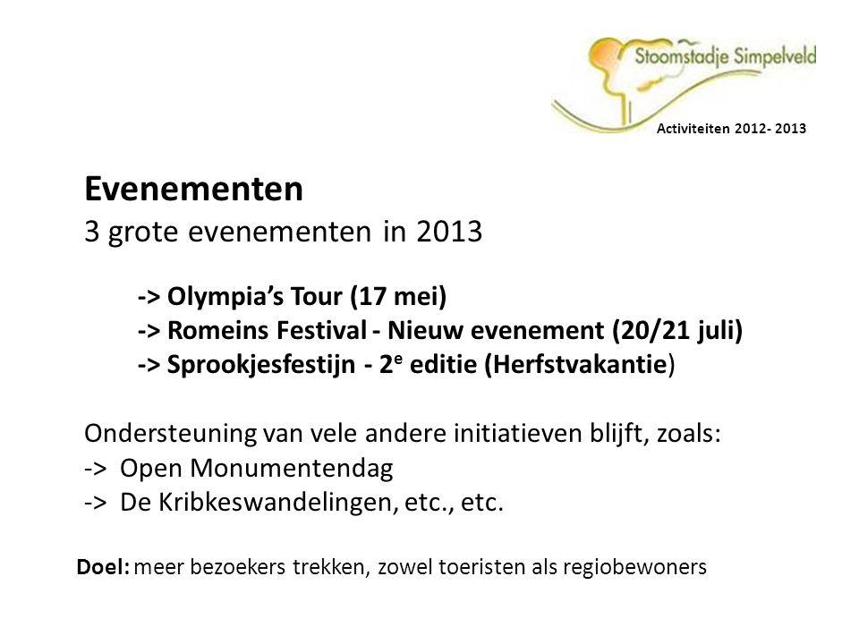 Evenementen 3 grote evenementen in 2013 -> Olympia's Tour (17 mei)