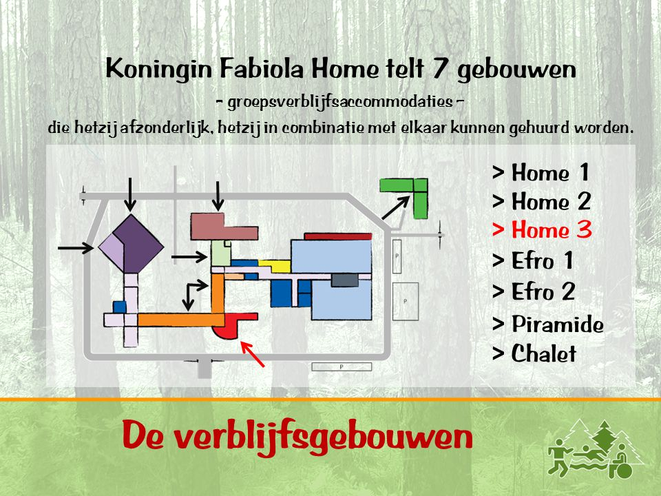 De verblijfsgebouwen Koningin Fabiola Home telt 7 gebouwen > Home 1