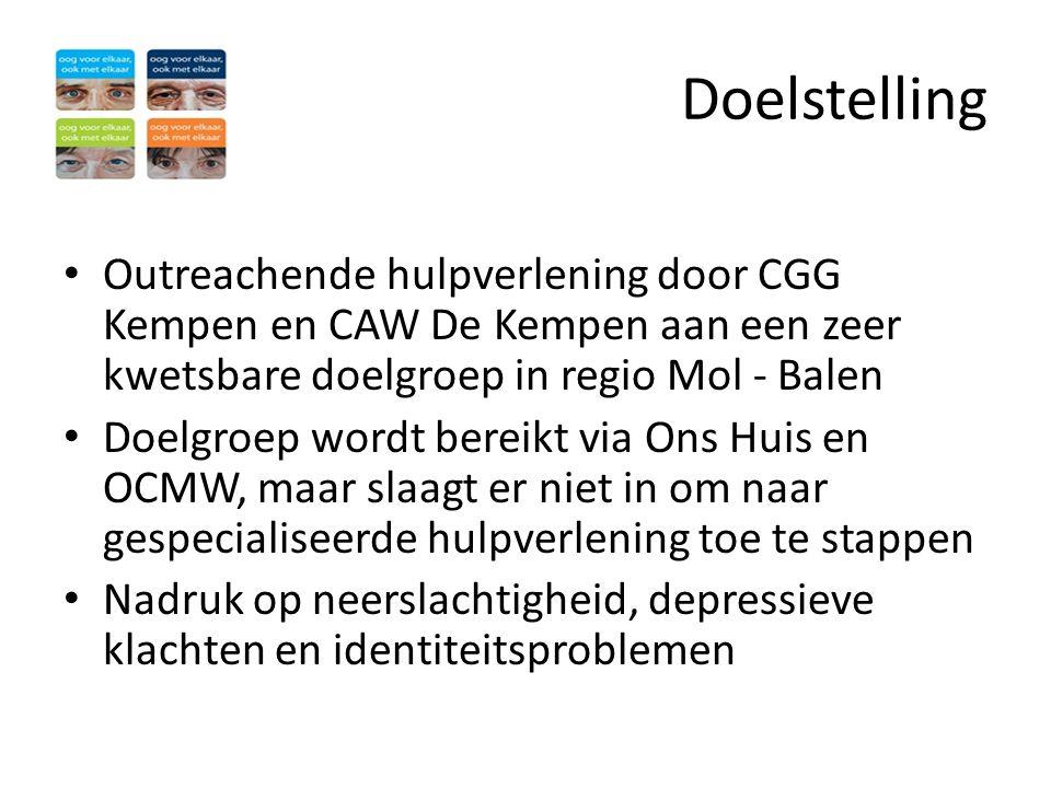 Doelstelling Outreachende hulpverlening door CGG Kempen en CAW De Kempen aan een zeer kwetsbare doelgroep in regio Mol - Balen.