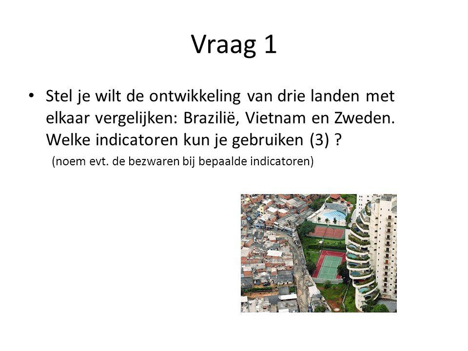 Vraag 1 Stel je wilt de ontwikkeling van drie landen met elkaar vergelijken: Brazilië, Vietnam en Zweden. Welke indicatoren kun je gebruiken (3)