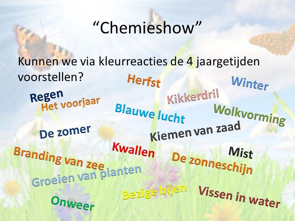 Chemieshow Kunnen we via kleurreacties de 4 jaargetijden voorstellen Herfst. Winter. Regen. Kikkerdril.