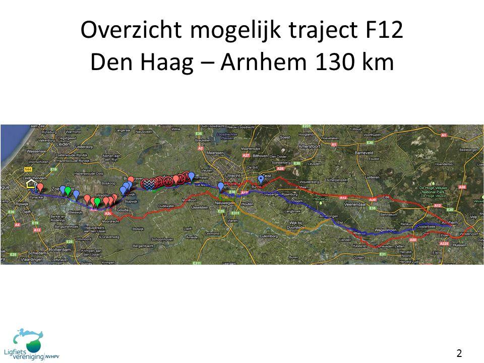 Overzicht mogelijk traject F12 Den Haag – Arnhem 130 km