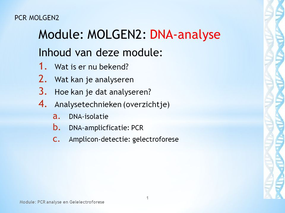 Module: MOLGEN2: DNA-analyse
