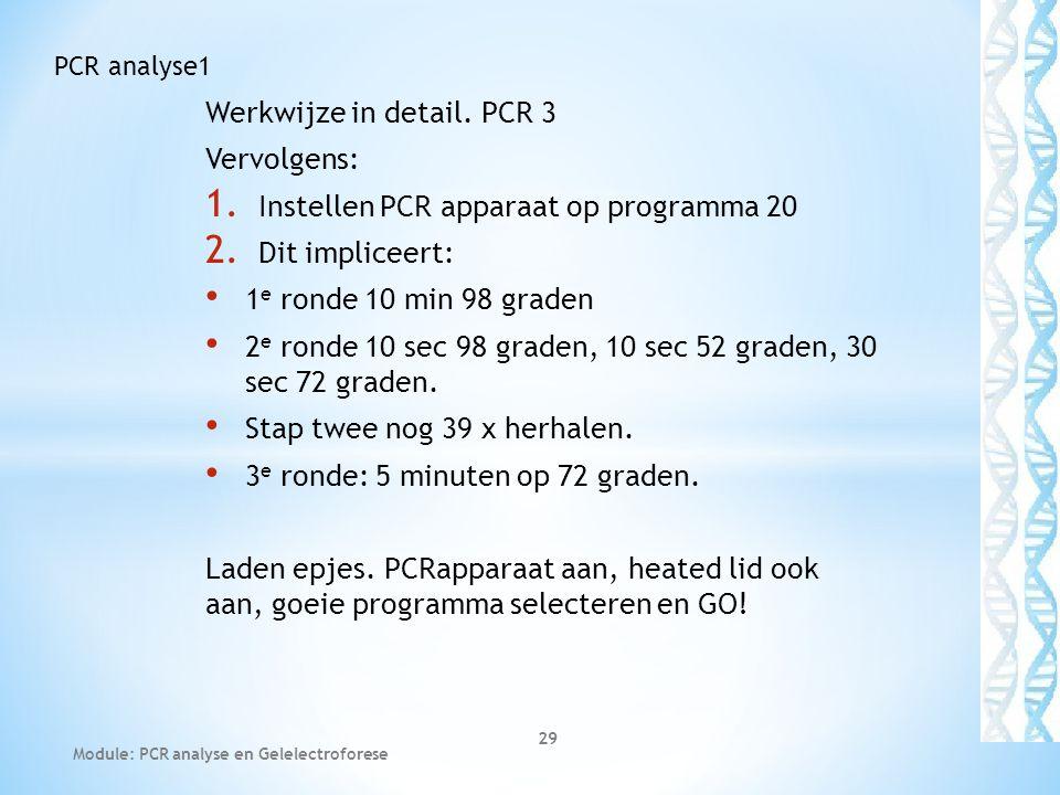 Werkwijze in detail. PCR 3 Vervolgens: