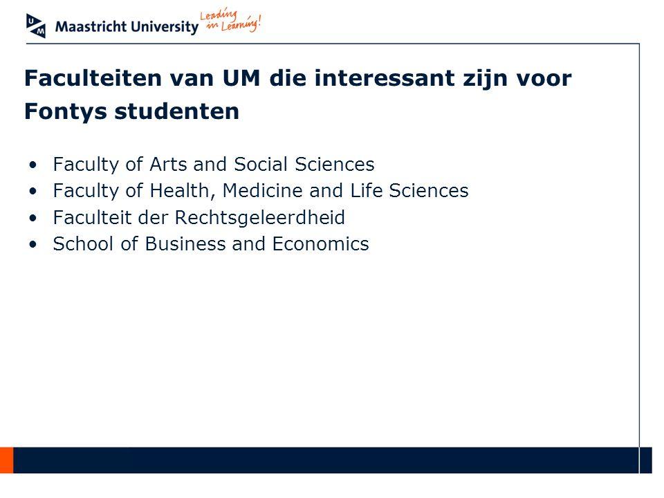Faculteiten van UM die interessant zijn voor Fontys studenten