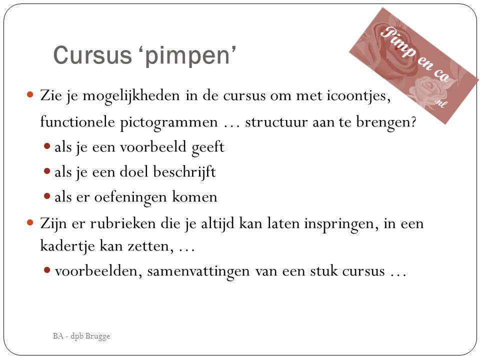 Cursus 'pimpen' Zie je mogelijkheden in de cursus om met icoontjes,