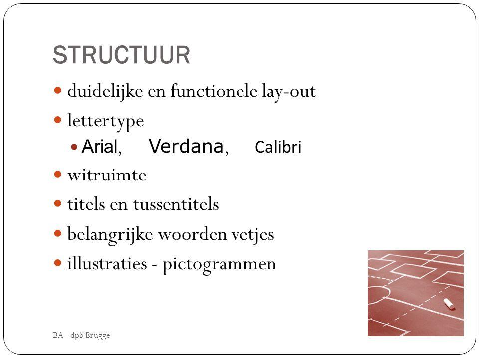 STRUCTUUR duidelijke en functionele lay-out lettertype witruimte