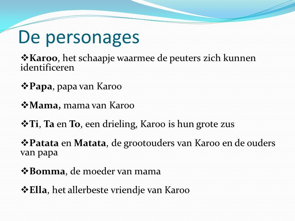 De personages Karoo, het schaapje waarmee de peuters zich kunnen identificeren. Papa, papa van Karoo.