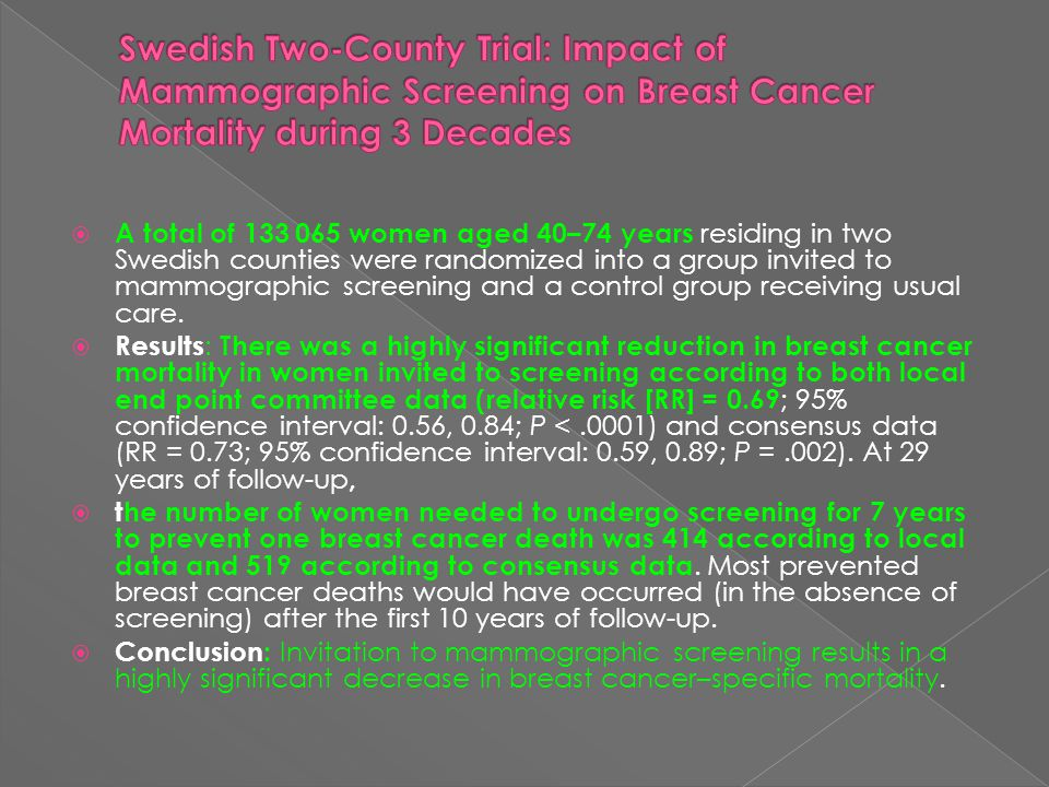 Swedish Two-County Trial: Impact of Mammographic Screening on Breast Cancer Mortality during 3 Decades