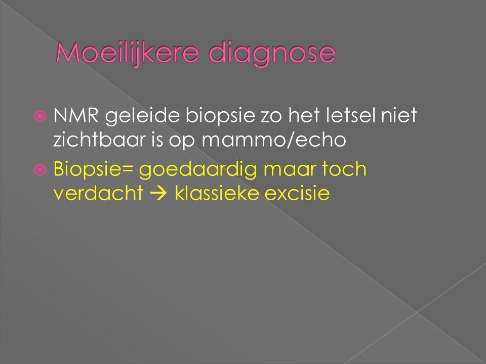 Moeilijkere diagnose NMR geleide biopsie zo het letsel niet zichtbaar is op mammo/echo.