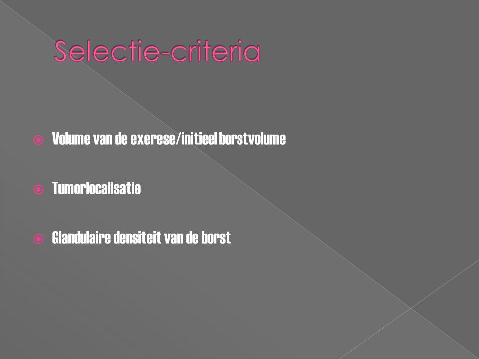 Selectie-criteria Volume van de exerese/initieel borstvolume