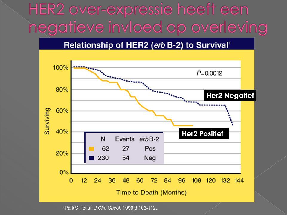 HER2 over-expressie heeft een negatieve invloed op overleving