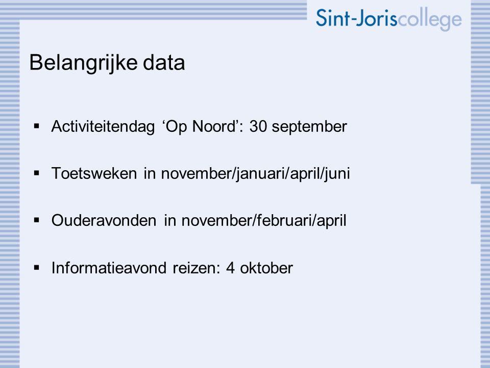 Belangrijke data Activiteitendag 'Op Noord': 30 september