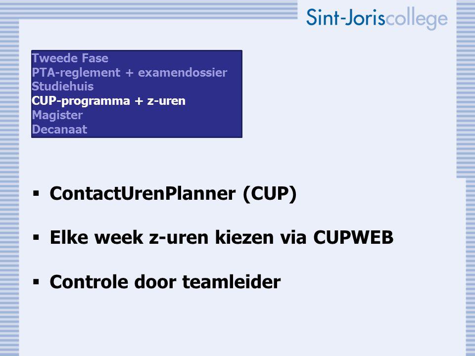 ContactUrenPlanner (CUP) Elke week z-uren kiezen via CUPWEB