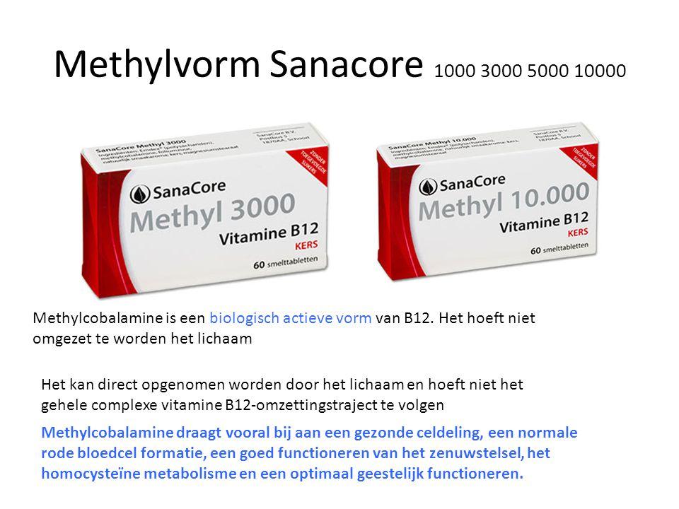Methylvorm Sanacore 1000 3000 5000 10000 Methylcobalamine is een biologisch actieve vorm van B12. Het hoeft niet omgezet te worden het lichaam.
