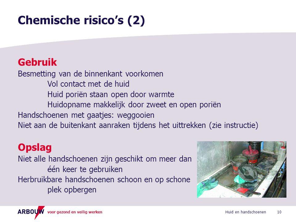 Chemische risico's (2) Gebruik Opslag