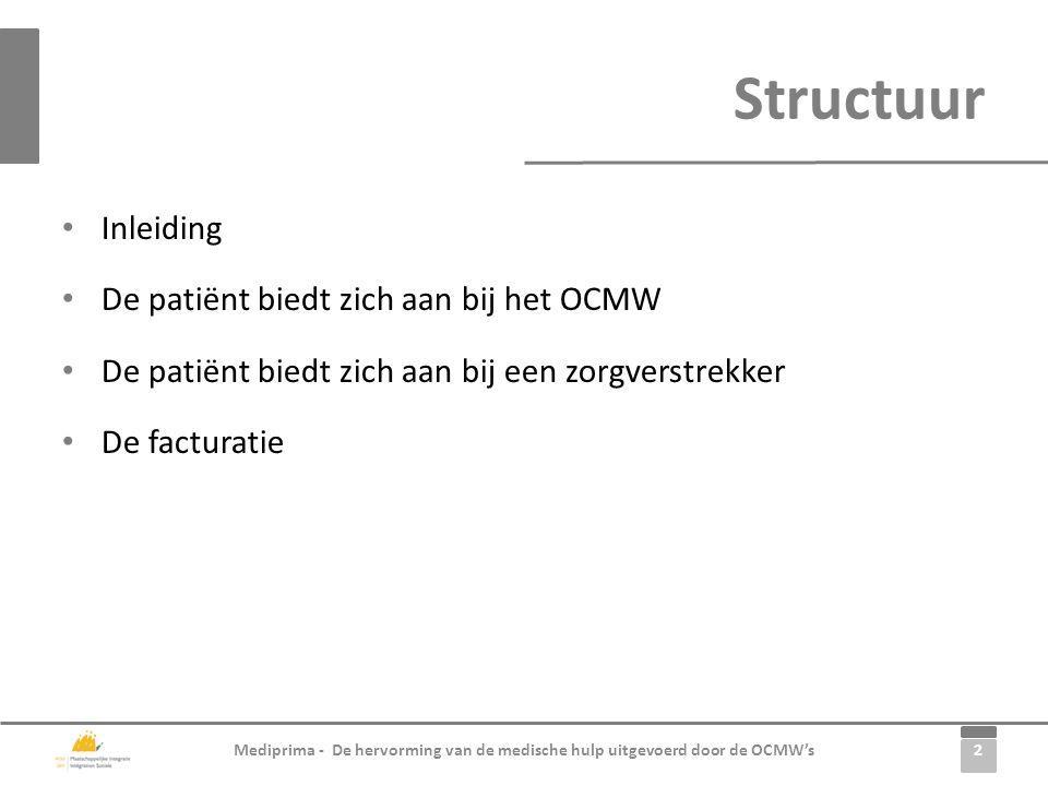 Structuur Inleiding De patiënt biedt zich aan bij het OCMW