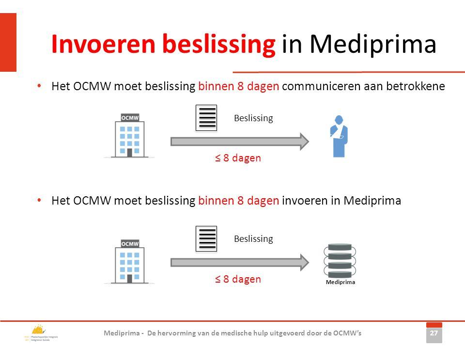 Invoeren beslissing in Mediprima