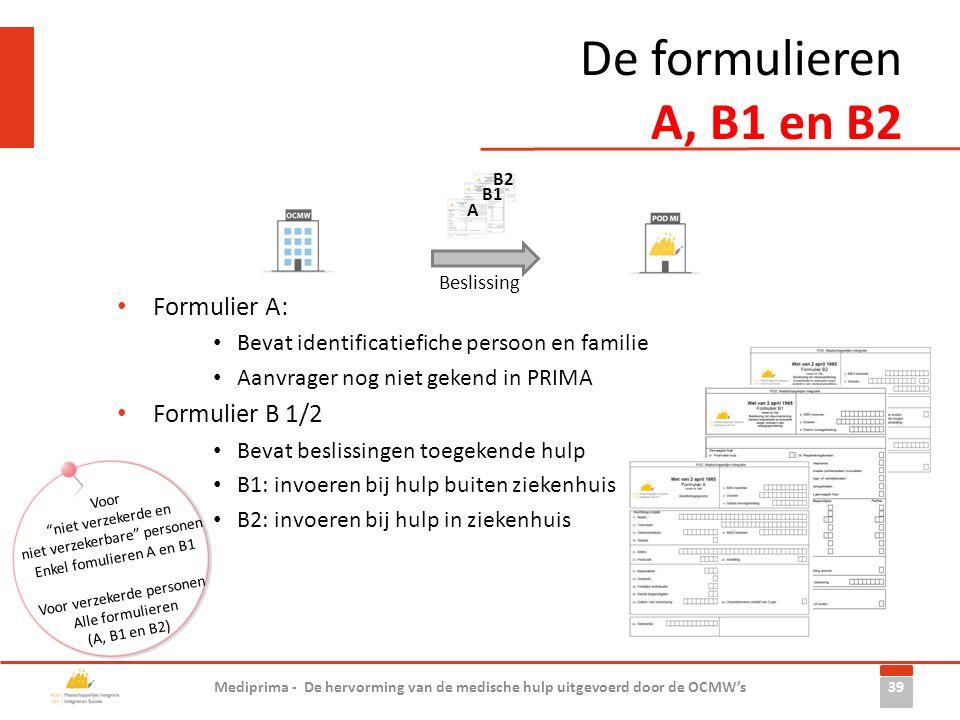 De formulieren A, B1 en B2 Formulier A: Formulier B 1/2