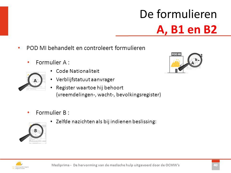 De formulieren A, B1 en B2 POD MI behandelt en controleert formulieren