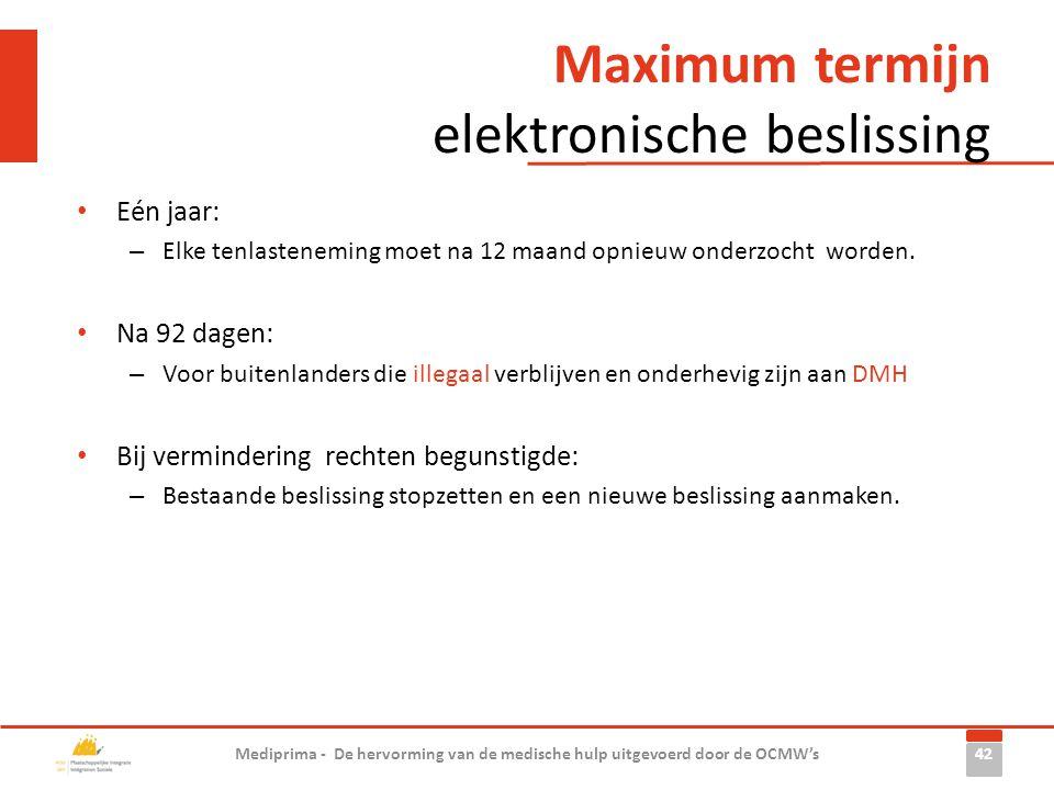 Maximum termijn elektronische beslissing