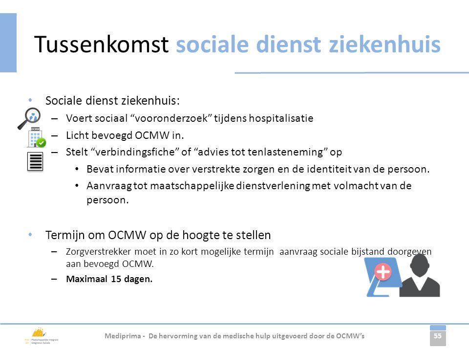 Tussenkomst sociale dienst ziekenhuis