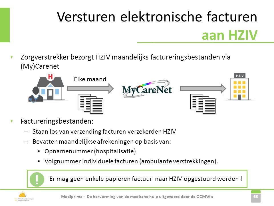 Versturen elektronische facturen aan HZIV