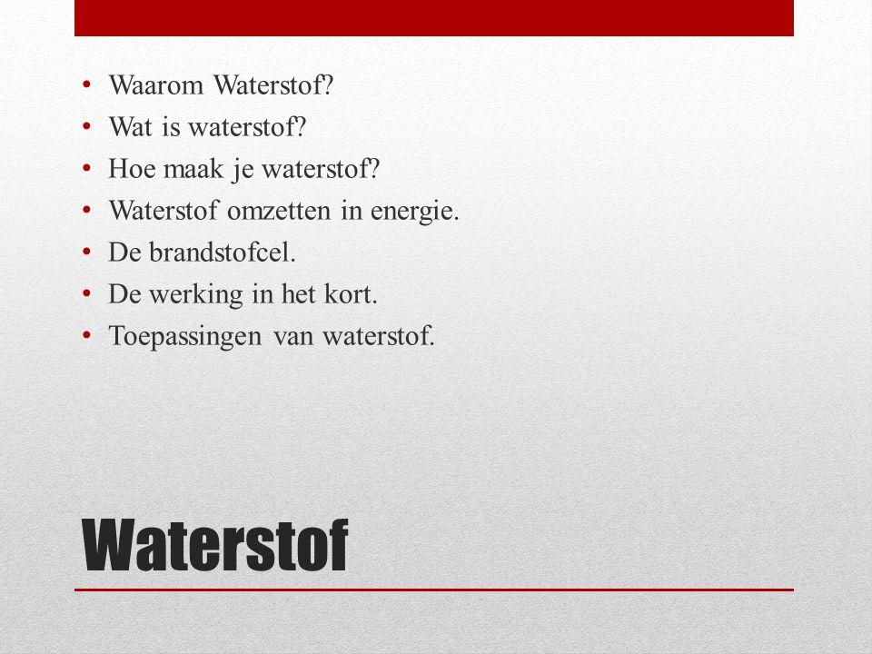 Waterstof Waarom Waterstof Wat is waterstof Hoe maak je waterstof