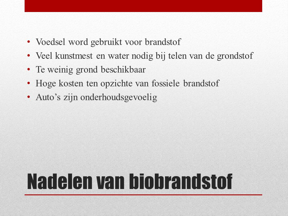Nadelen van biobrandstof