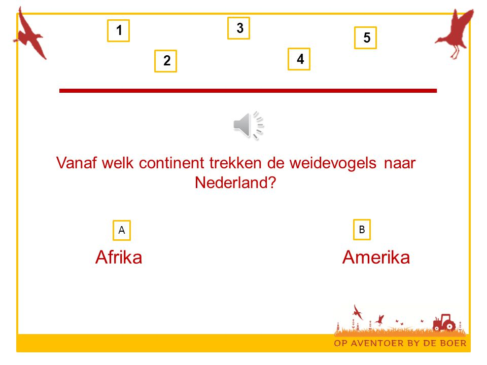 Vanaf welk continent trekken de weidevogels naar Nederland