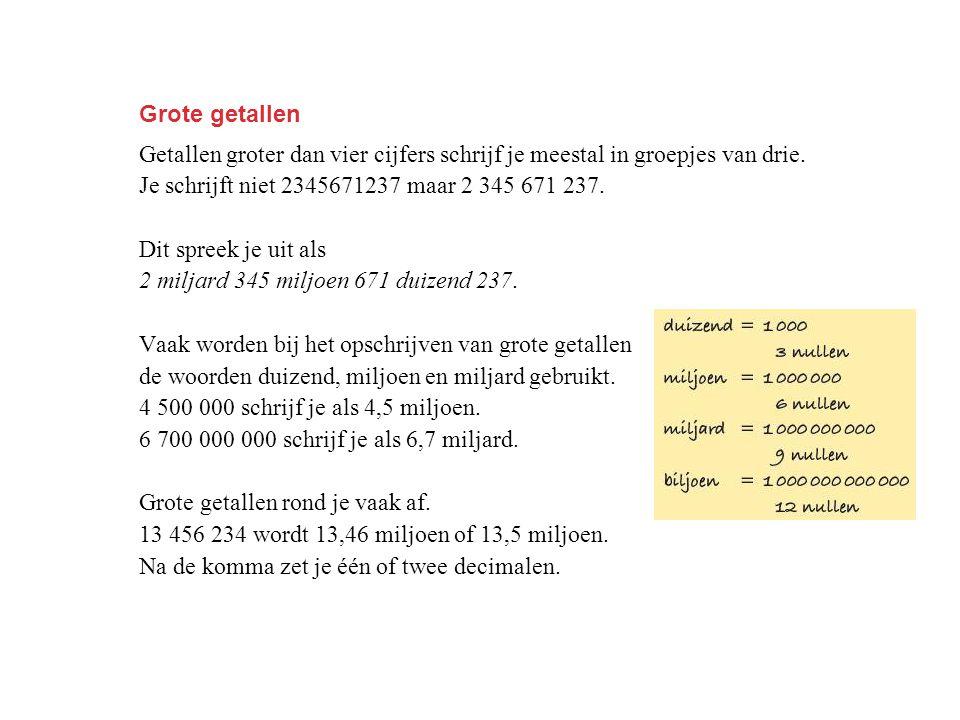 Grote getallen Getallen groter dan vier cijfers schrijf je meestal in groepjes van drie. Je schrijft niet 2345671237 maar 2 345 671 237.