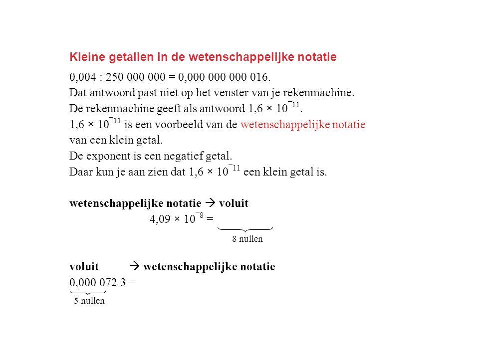 Kleine getallen in de wetenschappelijke notatie