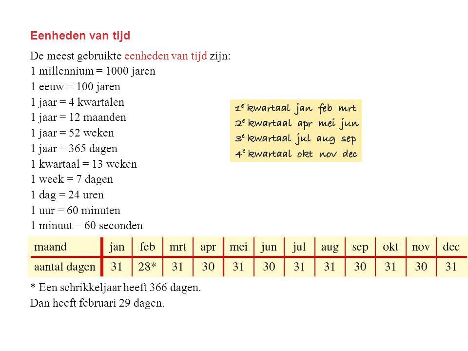 Eenheden van tijd De meest gebruikte eenheden van tijd zijn: 1 millennium = 1000 jaren. 1 eeuw = 100 jaren.