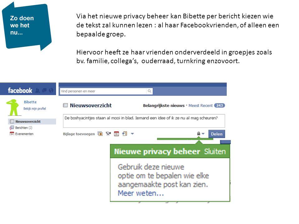 Via het nieuwe privacy beheer kan Bibette per bericht kiezen wie de tekst zal kunnen lezen : al haar Facebookvrienden, of alleen een bepaalde groep.