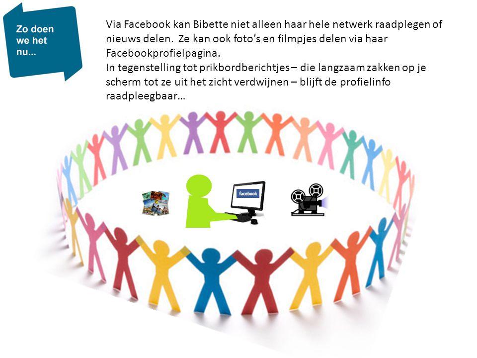 Via Facebook kan Bibette niet alleen haar hele netwerk raadplegen of nieuws delen. Ze kan ook foto's en filmpjes delen via haar Facebookprofielpagina.
