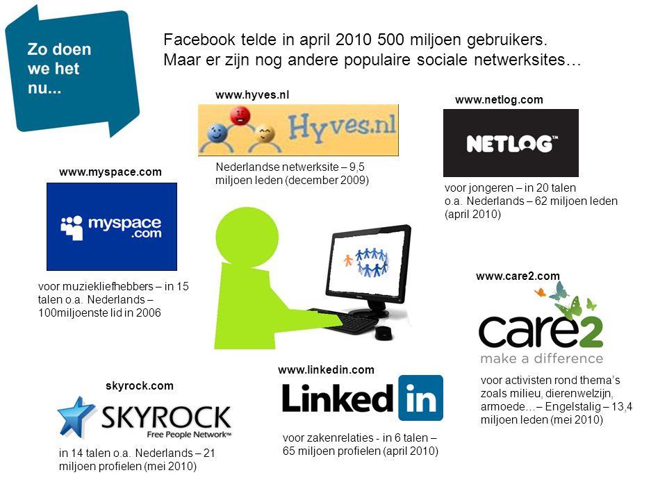 Facebook telde in april 2010 500 miljoen gebruikers.