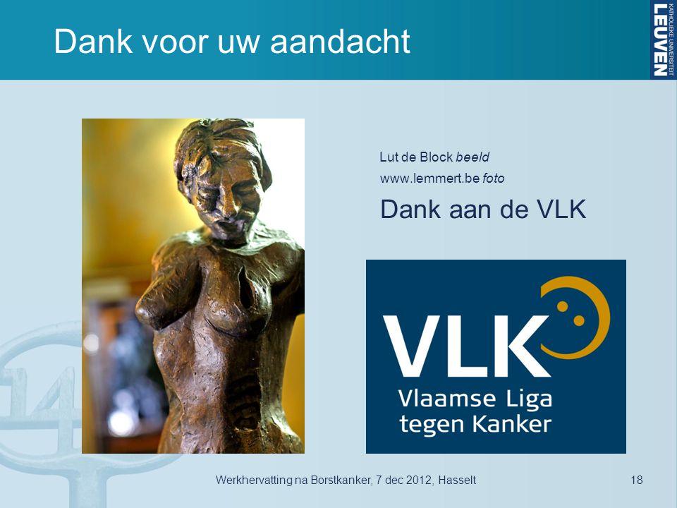 Dank voor uw aandacht Lut de Block beeld Dank aan de VLK