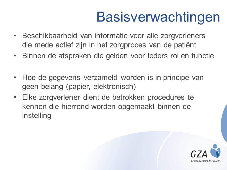 Basisverwachtingen Beschikbaarheid van informatie voor alle zorgverleners die mede actief zijn in het zorgproces van de patiënt.