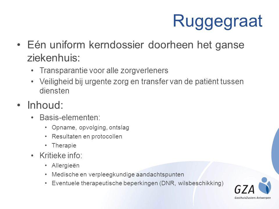 Ruggegraat Eén uniform kerndossier doorheen het ganse ziekenhuis: