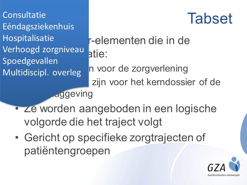 Tabset Bevat dossier-elementen die in de gegeven situatie: