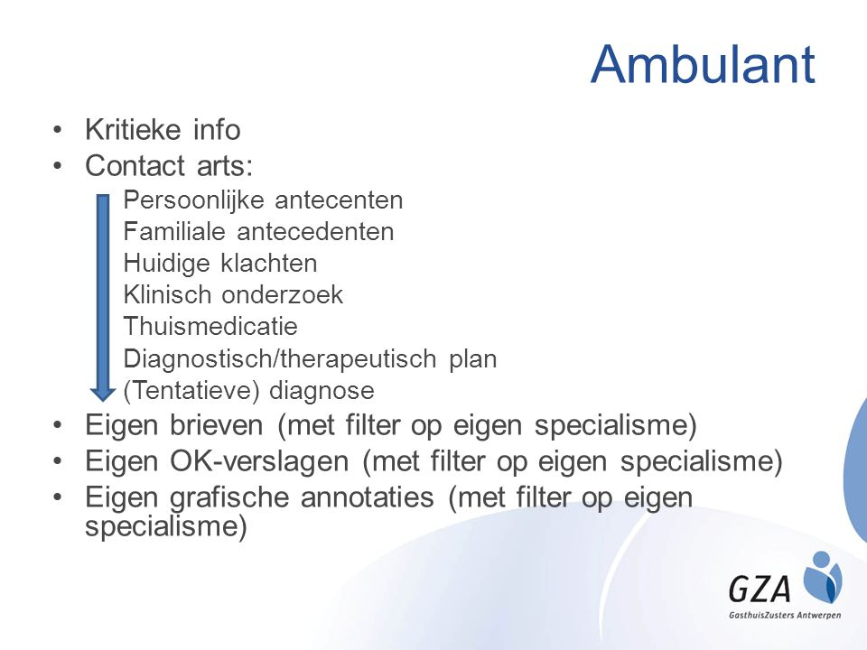 Ambulant Kritieke info Contact arts: